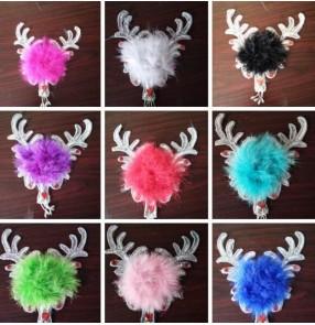 Girls ballet modern dance latin dance feather headdress kids children hair accessories hair clip