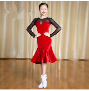 Girls ballroom dance dresses black with red long sleeves latin salsa chacha rumba samba stage performance competition skirt dresses