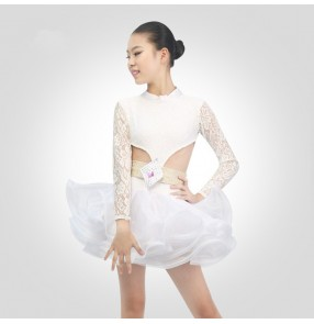 Girls ballroom latin competition dresses kids lace rhinestones stage performance rumba salsa chacha dance skirts costumes dress