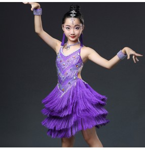 Girls ballroom latin dancing dresses neon green light pink violet blue rhinestones chacha rumba salsa competition skirt dress