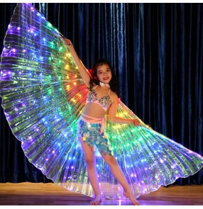 Girls belley dance lead light rainbow wings carnival  kids children stage performance show cosplay Indian queen dance wings