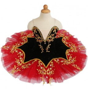 Girls Black and red ttutu skirts children professional ballet dance dresses pancake ballerina classical ballet group organization performance clothing