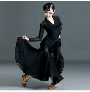 Girls black ballroom dance dress for kids tango waltz dance dress long sleeves black ballroom dancing costumes for girls