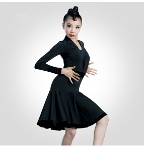 Girls black colored competition latin dance dresses salsa rumba chacha dance dress costumes