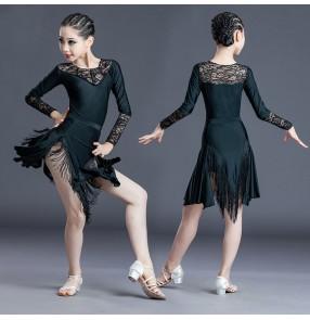 Girls black lace latin dance dress kids rumba salsa ballroom long sleeves leotard top tassels skirts latin dance costumes for children