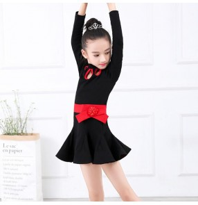 Girls black latin dress for kids children long sleeves rumba salsa chacha dancing costumes