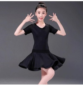 Girls black latin dresses competition stage performance professional salsa chacha rumba dancint dresses
