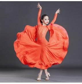 Girls black orange lace long sleeves ballroom dance dresses ballroom dance skirts stage performance waltz tango dance dresses for kids