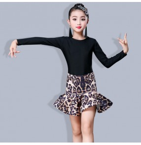 Girls black with leopard pinted latin dance dresses stage performance salsa chacha rumba dance body top and skirts dresses