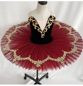Girls black with red velvet classical tutu skirts ballet dance costumes ballerina ballet pancake professional dance dresses for kids