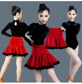Girls black with red velvet latin dance tops and skirt stage performance latin salsa dance dress for children