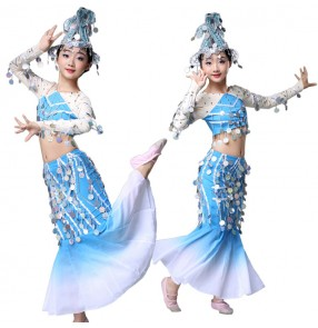 Girls blue colored chinese folk dance costumes ancient traditional peacock mermaid thailand style dai minority stage performance costumes