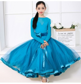 Girls blue colored competition ballroom dancing dresses kids children waltz tango dance dresses