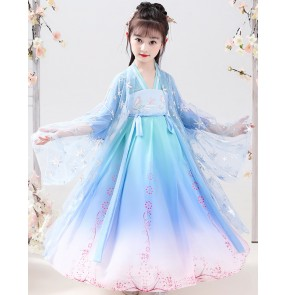 Girls blue gradient colored chinese hanfu kimono dresses fairy princess dresses Chinese Tang suit Children folk dance costume fairy sakura skirt dress