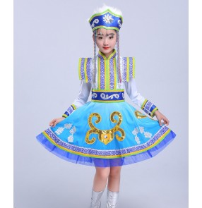 Girls blue Mongolian dresses children Mongolian costumes girls chopsticks dance costumes children chinese ethnic Mongolian dance costumes