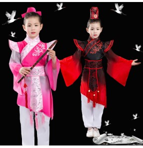 Girls boys china hanfu chinese folk dance costumes ancient traditional confucius school stage performance dresses
