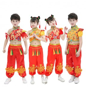 Girls boys chinese dragon boat folk dance costumes red gold stage performance china drummer performance clothes costumes