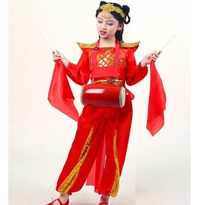 Girls boys chinese dragon folk yangko dance costumes drummer performance suit clothes for children