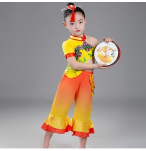 Girls boys Chinese folk dance costumes china drummer stage performance clothes dance wear costumes