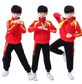 Girls boys chinese martial art wushu stage performance costumes sports fitness practice tachi performance clothes for kids