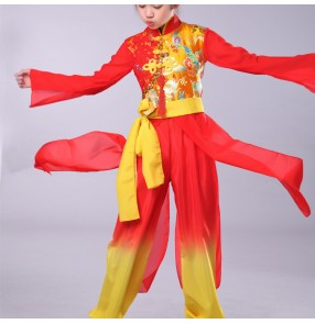 Girls boys Chinese Traditional dragon drummer Dance Costume for Stage Child National Folk Fan Dance Clothing Umbrella Oriental Dancer Wear Show