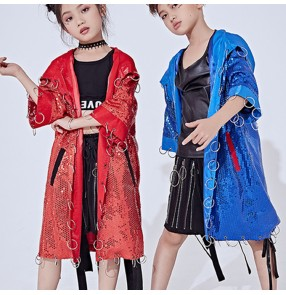 Girls boys hiphop dance outfits rap dancing drummer stage performance school competition professional street modern dance coat and shorts
