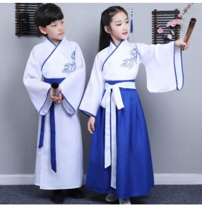 Girls boys kids children blue colored hanfu stage performance chinese folk dance costumes drama cosplay korean japanese kimono dresses