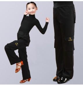 Girls boys latin dance pocket pants black wide leg ballroom dance long pants dance trousers for kids