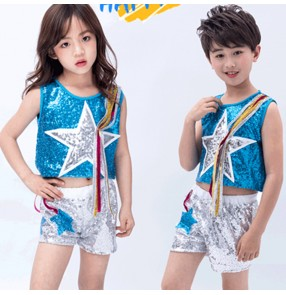Girls boys modern dance jazz dance costumes blue with silver sequin hiphop gogo dancers performance outfits costumes