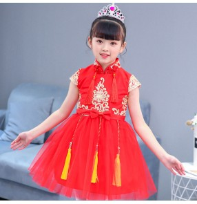 Girls boys princess jazz dance dresses show school stage performance competition dresses