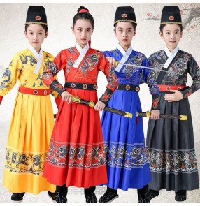 girls boys red black blue chinese hanfu swordsman knight drama cospay robes for kids chinese traditional performance dragon robes