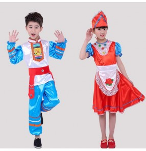 Girls boys Russian folk dance costumes ancient traditional national European palace drama stage performance dress costumes