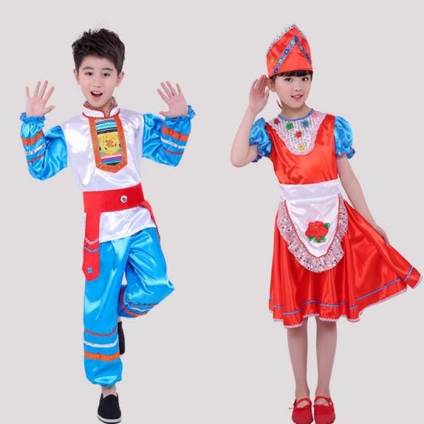 Girls Boys Russian Folk Dance Costumes Ancient Traditional