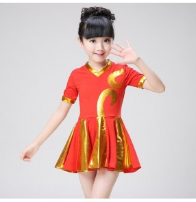 Girls cheer leaders fitness for kids children sports aerobics exercises stage performance square dancing dresses