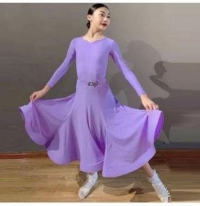 Girls child light purple ballroom dance dress professional ballroom competition dancing practice costumes long dress for kids