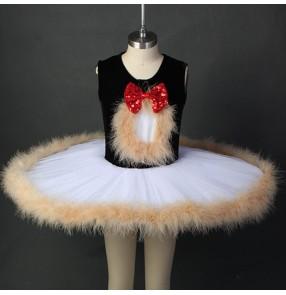 Girls children ballet dance dress kids children stage performance tutu skirts feather ballet costumes dress