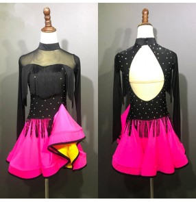 Girls children ballroom dresses pink black diamond long sleeves latin rumba salsa chacha performance competition dancing costumes