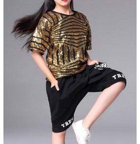 Girls children boys street modern dance costumes modern dance hiphop jazz singers gogo dancers tops and shorts