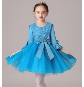 Girls children candy colored princess dresses kindergarten purple blue white flower girls dresses modern dance dress chorus dresses
