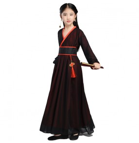 Girls children chinese ancient fairy hanfu chinese folk dance costumes stage performance christmas halloween party drama cosplay dresses
