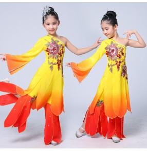 Girls children chinese folk dance costumes fairy cosplay dress yangko dam umbrella dance costumes