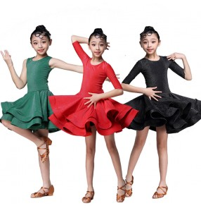 Girls Children competition ballroom latin dancing dresses stage performance chacha rumba modern dance dresses