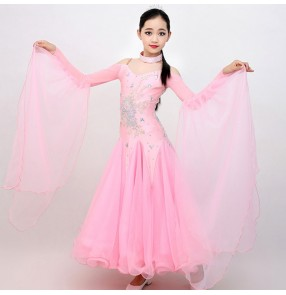 Girls children competition light pink stones ballroom dancing dresses professional waltz tango stage performance dance dresses