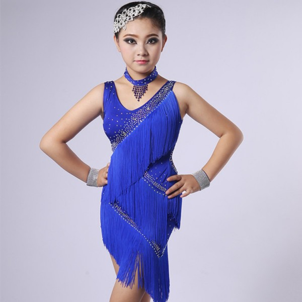 e88a68f90 Girls children competition stage performance latin dancing dresses tassels  violet royal blue red rumba salsa chacha dancing costumes
