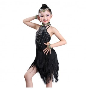 Girls children competition stones black latin dance dresses green red rhinestones stage performance rumba chacha salsa latin dance dress
