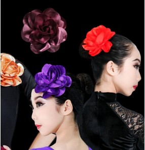Girls children flamenco dance flowers stage performance ballroom latin dance rose flowers headdress