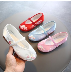 Girls Children hanfu embroidered shoes Chinese style princess fairy dresses cosplay shoes kids soft soles Beijing cloth show traditional dance shoes