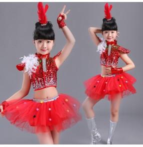 52e13b859ba3 Girls children jazz dance costumes princess kids gogo dancers stage show  performance cheerleaders dancing dresses outfits
