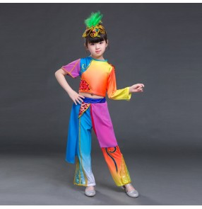 Girls children jazz stage performance costumes children rainbow colored fish mermaid anime drama cosplay outfits tops and pants