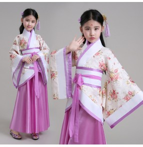 Girls children kids chinese folk dance hanfu dresses violet fairy princess drama cosplay stage performance costumes robes
